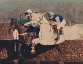 Desert Orchid (Simon Sherwood) winner and Panto Prince (Brendan Powell) fighting it out at Ascot