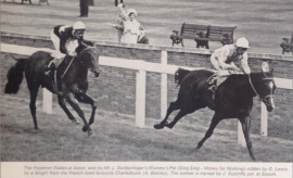 Mummy's Pet  Geoff Lewis winning the Hyperion Stakes from the favourite Charladouce  Sandy Barclay.