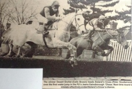 Desert Orchid  Colin Brown bts Bolands Cross Peter Scudamore 1987 Gainsborough Chase,.