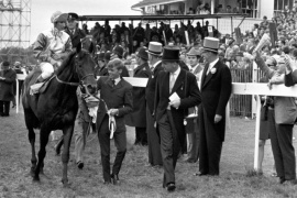 Blakeney Ernie Johnson up, is led in after winning the 1969 Derby