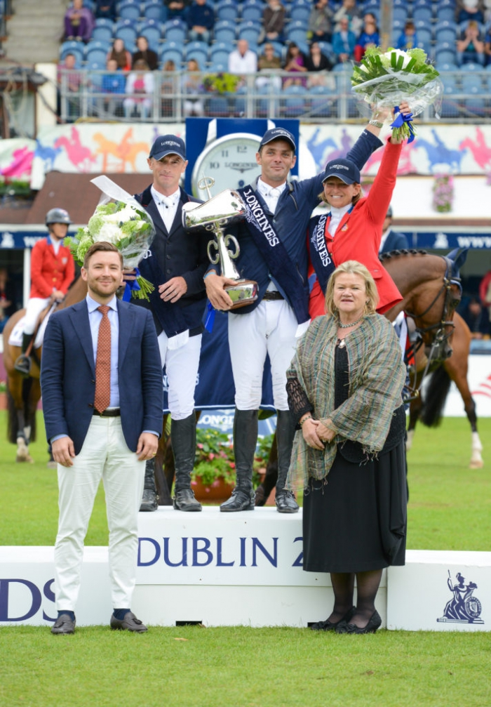 Denis Lynch, Werner Muff & Beezie Madden on the podium for the 2017 Grand Prix of Ireland. Ph. ©Tori O'Connor