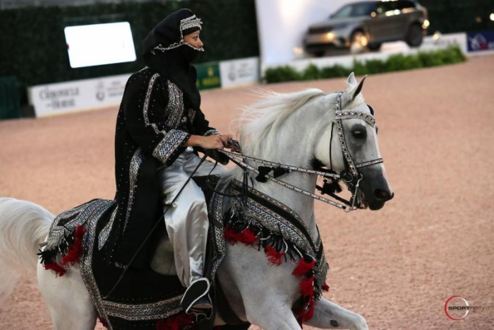 Brooke Fuchs and EQ Escalade earned the win in the Arabian Mounted Native Costume class.