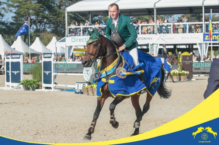 Gold medal winners Ger O'Neill and Columbcille Gipsy on their lap of honour at the World Championships in Lanaken  (Photo: Zangersheide)