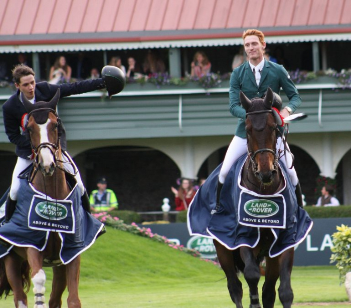 Christopher Megahey (left) and Daniel Coyle shared victory in the Land Rover Puissance at the RDS