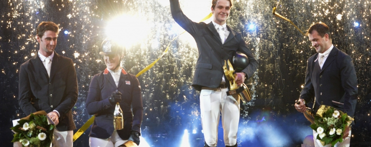 Liverpool Puissance winner Christopher Megahey pictured with joint third placed David Simpson and Holly Smith (on left) and runner-up Peter Smyth on right