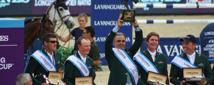 The winning Irish Team stand on the podium following Ireland's win in the Longines FEI Nations Cup Final