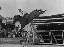 Captain Alberto Larraguibel, who guided his Thoroughbred stallion Huaso xx over an 8'1″ jump in 1949, setting a world high jump record which still stands today