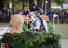 Boyd Martin and Crackerjack at the last water complex, fence 26, on course at Pau. Photo by Tilly Berendt.