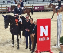 Darragh Kenny and Go Easy De Muze in the prize giving ceremony following victory in the Montpellier Grand Prix