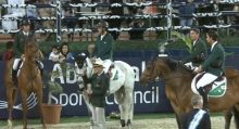 Shane Breen, Trevor Breen, Mark McAuley and David Simpson pictured with team manager Michael Blake following a runner-up finish in the Abu Dhabi Longines FEI Nations Cup